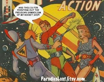 SPACE RANGER Sci Fi Vintage Pulp Art Poster Rocket Sigmund Freud