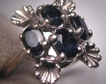 Antique Sapphire Ring White Gold Vintage Retro Art Deco c.1930-50s