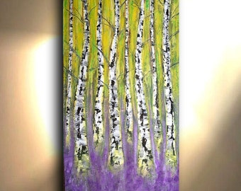 ORIGINAL 72X36 Large Tree painting Yellow Purple Painting Aspen Big Contemporary Big Wall art on canvas Oil and Acrylic Impasto By Oto
