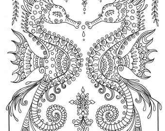 Printable Sea Horse Coloring Page Instant Download Adult Coloring Page Fantasy Art