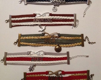 Texas A&M Aggie - Texas State Bobcats - Baylor Bears - Texas Longhorns - Dallas Cowboys Leather Bracelet