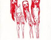 Red Mummy Girls gocco print