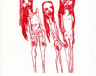 Red Mummy Girls gocco print