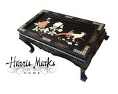 Lacquer Coffee Table Chinoiserie Oriental Asian Black Inlaid Coromandal Painted Vintage Hollywood Regency