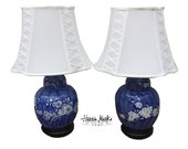 Pair Lamps Chinoiserie Blue And White Hollywood Regency Palm Beach Asian Porcelain