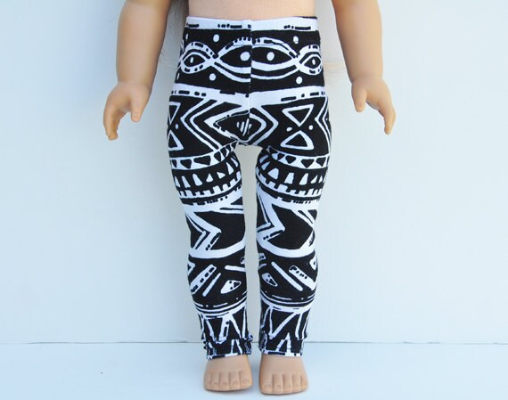 AG Doll Clothes - Leggings, Aztec Print, Black and White, Separates, Pants, Bottoms