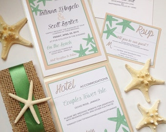 Sugar Starfish Wedding Invitation Suite, Pocket Fold Invitation, Starfish Invitation, Wedding Invitation