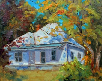 "Little White House, Old Country Home, Portrait, Landscpae Portrait, Modern Still Life, Medium Size Painting, 12""x12"" Gallery Wrap, Gift Item"