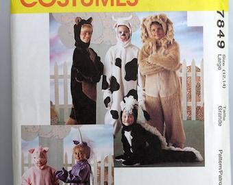 Size 3 Toddler Child McCalls P209 Crawling Critters Skunk Lion Elephant Panda Bear Monkey 6105  Boys Girls Halloween Costume UC Sew Pattern