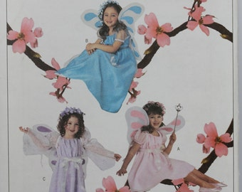 Size 2 3 4 5 Toddler Child Kids Butterick 3897 Dress Wings Fantasy Fairy Princess Costume Girls  Uncut Sewing Pattern