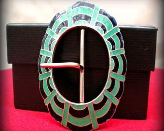 Green and Blue/Black Art Deco Belt Buckle