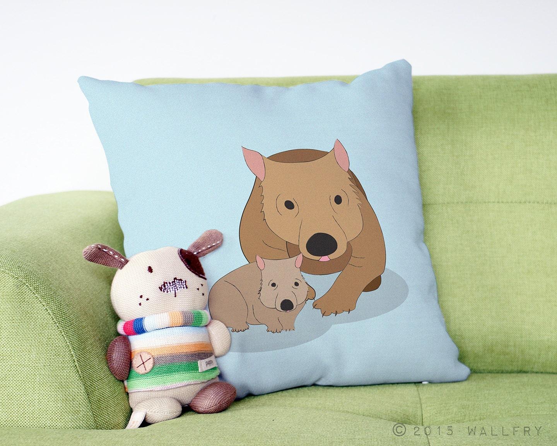 Down Pillows Animal Cruelty : Wombat throw pillow. Australian animal nursery decor. Decor