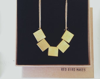 Geometric Oversized Brass Cube Necklace