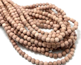 Unfinished Rosewood, 4mm - 5mm, Round, Smooth, Natural Wood Beads, Small, Full strand, 90pcs - ID 1983