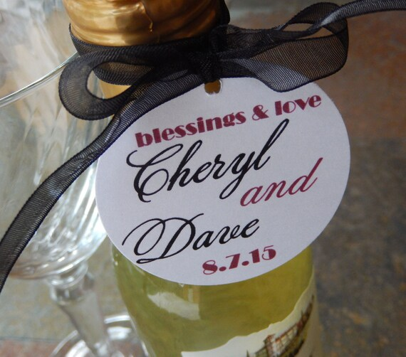 """Wedding Custom 2"""" Thank You Tags - For Mini Wine Bottles - Cake Pops - Favors - Anniversary - (100) Personalized 2"""" Printed Circle Tags"""