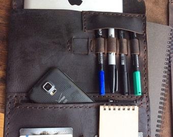 Leather Business Portfolio, Leather Business Folder, Executive Padfolio Leather, Expresso Portfolio Notebook, Handmade 6 Pocket Portfolio