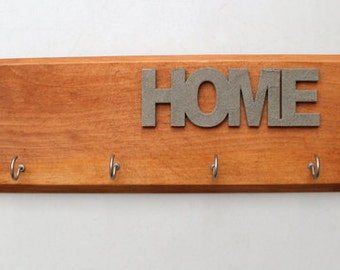 Home Wood Wall Hanger - Key Hooks - Reclaimed, Distressed Wood - Eco friendly Wall Decor