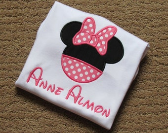 Girls Minnie Mouse Inspired Shirt or Bodysuit, Disney Vacation, Minnie Shirt, You Design, Minnie with Dress