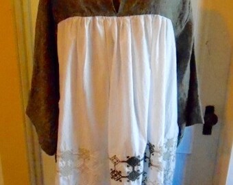 SALE Lagenlook Tunic Dress Linen Cotton Embroidered