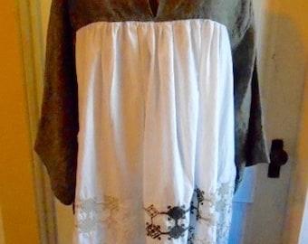 Lagenlook Tunic Dress Linen Cotton Embroidered
