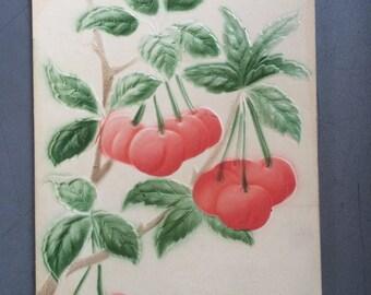 Embossed Postcard by P. Sander - Red Cherries - Fruit  - Green Leaves