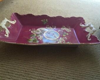 Aesthetic Movement Victorian Porcelain Serving Tray - Platter - Dish  - Raspberry - Wedding Table Setting - White Flowers