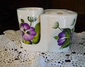 Bathroom Porcelain Tooth Brush, Tooth Paste, Cup Holder Purple Pansy  Design