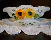 Hand Painted Porcelain Gravy Boat Sunflower Design