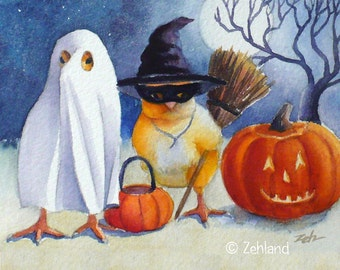 Halloween Print Baby Chicks Witch Ghost 8x10 Ferdinand and Nina Fine Art by Janet Zeh