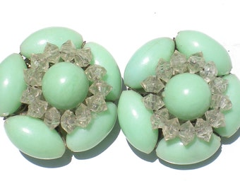 Vintage Jewelry Cluster Clip On Earrings with Mint Green Beads with Crystal Clear Accents - Signed Hong Kong