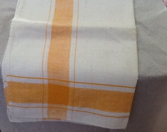 Vintage Linen Tea Towel Yellow and White