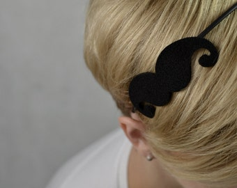 Black headband with felt Moustache