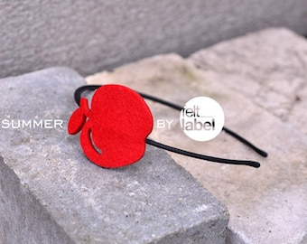 Red headband with felt apple