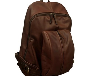 "Handmade Leather backpack for up 15 ""laptop,Michael in brown"