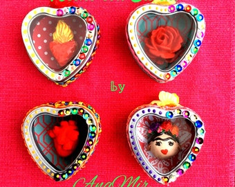 Frida inspired magnets - corazon, flaming heart, roses, Frida & Diego