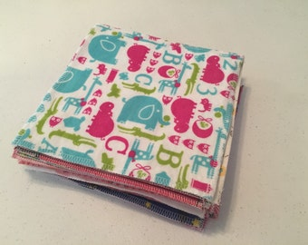 Set of 24 100% cotton flannel baby wipes 2 layers in girl colors
