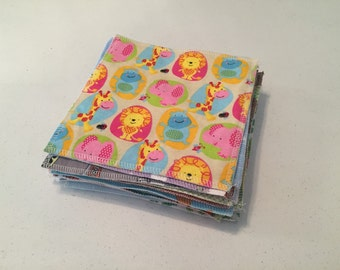 Set of 24 100% cotton flannel baby wipes 2 layers in boy colors