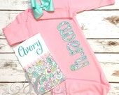 Girl Coming Home Outfit - Baby Girl Gown - Baby Girl Bring Home Outfit - Baby Pink Sleeper With Bow - Baby Name Gown - Take Home Outfit