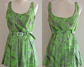1960s Elizabeth Stewart two piece swimsuit / vintage 60s lime green floral print bathing suit / M