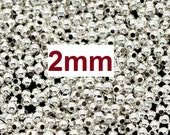 250 pcs Silver Plated Alloy Smooth Ball Spacer Beads- 2mm