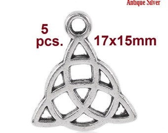 5pcs. Antique Silver Celtic Knot Charms Pendants - 17x15mm