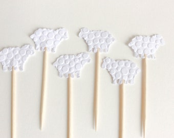 24  White Sheep Cupcake Toppers Baby Shower -Party pick