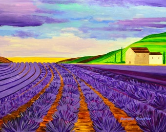 "landscape paintings on canvas lavender summer farm field large original acrylic purple art 24x36"" Mariana Stauffer Malorcka"