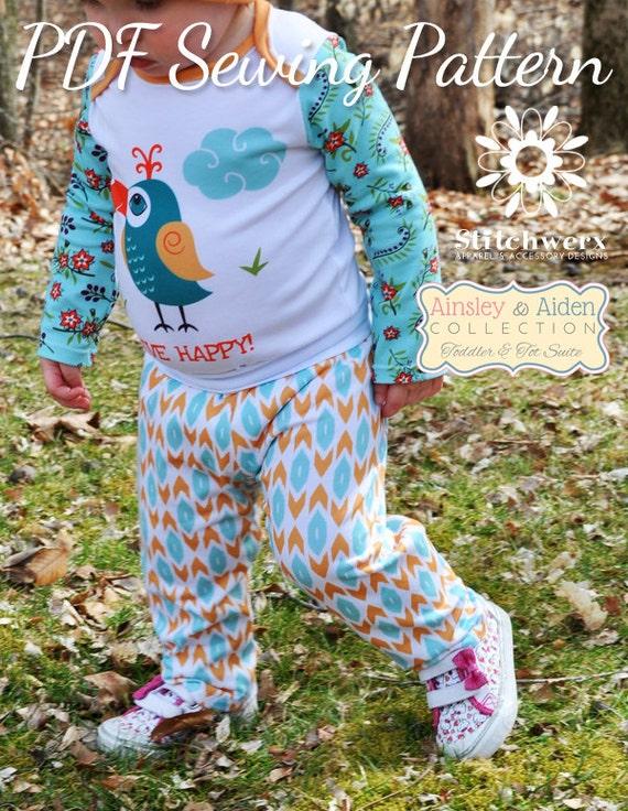 Knitting Pattern For Toddler Pants : Toddler Child Knit Pants Sewing Pattern Easy Toddler Clothes