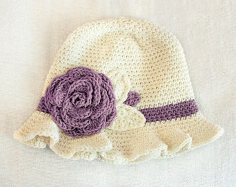 6 to 12m Baby Sun Hat in Cream and Purple Grape - Crochet Rose Flower Hat, Crochet Hat Baby Girl Cloche Hat Baby Flapper Girl Prop  Cij