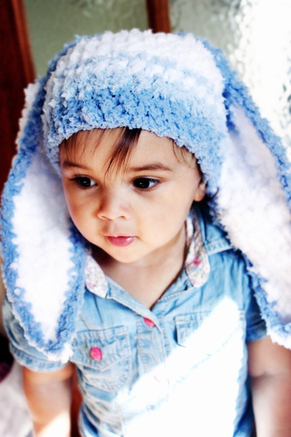 SALE 3 to 6m Baby Bunny Hat Blue Stripe Bunny Beanie - Crochet Baby Hat Blue White Bunny Ears Rabbit Hat Bunny Prop Christmas Costume Gift