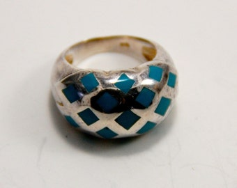 Silver Ring with Turquoise Enamel Inlay - Sz 9 - From France