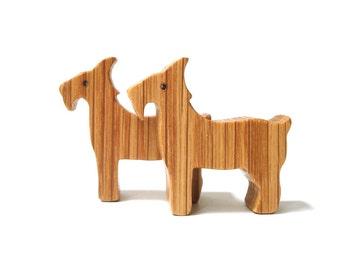 Wood Toy Goats Miniature Noah's Ark Animals Farm Play Set Wooden Animal Figurines Miniature Goats