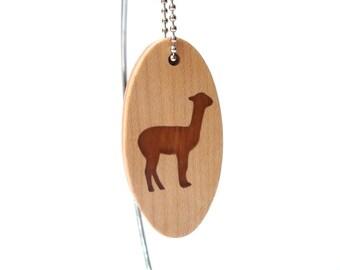 Alpaca Key Chain, Llama Keychain, Vicuna Key Ring, Wood Scroll Saw Farm Animal Key Fob, Llama Accessories, Cherry