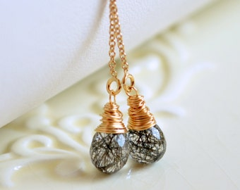 Black Rutilated Quartz Earrings, Gold Filled or Sterling Silver, Gemstone Threaders, Wire Wrapped Jewelry, Free Shipping